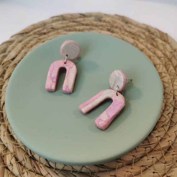 Pearly pastel pink and white, polymer clay arch earrings out of polymer clay (nickel free)
