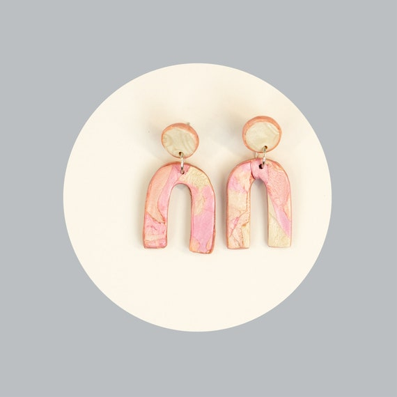 Nickel free, pastel, polymer clay, arc, earrings   lightweight and modern arches earrings   pink contemporary u earrings