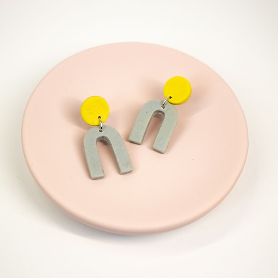 Small, polymer clay, arches, in grey and yellow, that are nickel-free | cool, colour block, arc earrings | mini u earrings