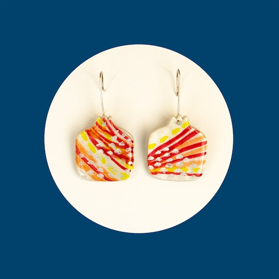 Nickel free, pomegranate, polymer clay earrings that are handpainted | unusual, fruit, statement, drop earrings