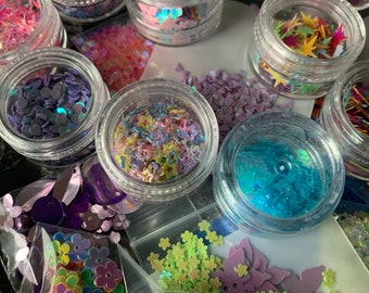 A 5 pack of Mystery glitter packs surprise glitter bundle Chunky glitter for resin diy crafts! scrapbooking
