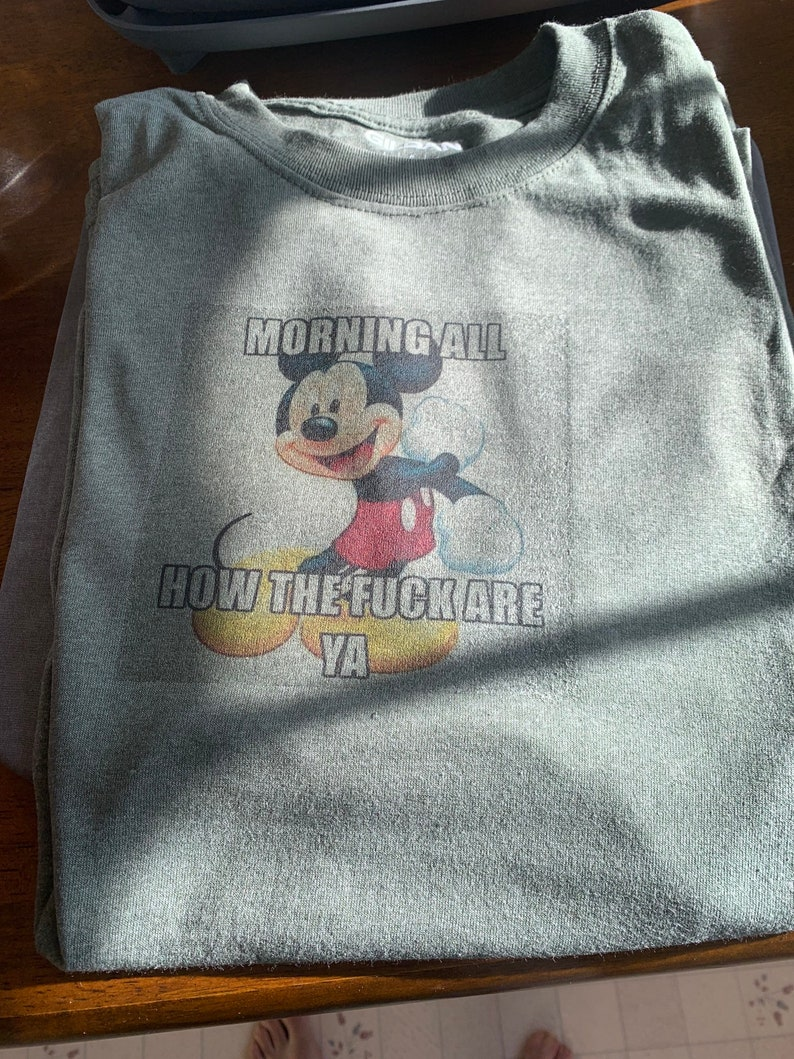 gag gift Funny shirt Mickey Mouse good morning t-shirt funny clothes