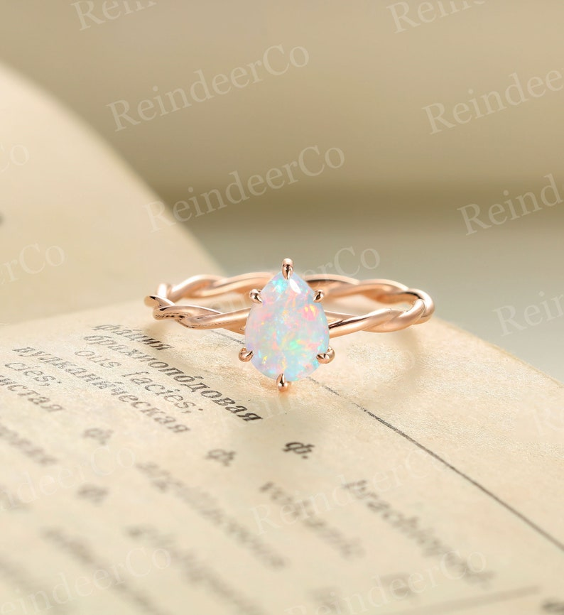 Pear shaped white Opal engagement ring   Solitaire ring rose image 0