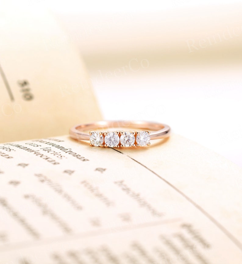 Unique promise ring Anniversary s for her 14k rose gold matching ring Diamond Moissanite wedding band Prong set