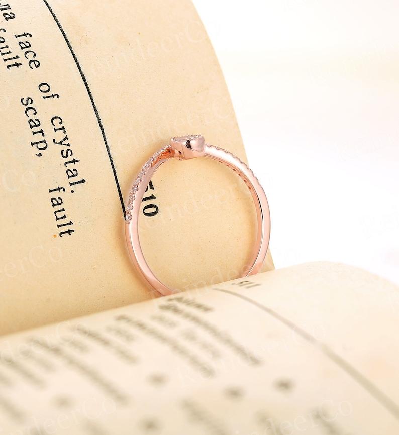 Anniversary Moonstone engagement ring rose gold Half eternity ring Pear shaped ring diamondmoissanite Prong set milgrain