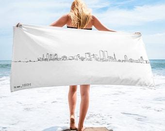 Tel Aviv skyline (extended) - Beach Towel