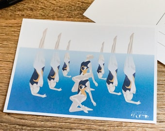 Synchronised swimming card in blue for synchronised swimming birthday card or christmas card for swimming coach for art greeting card