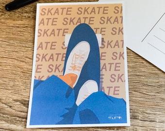 Skateboard card for skater birthday card or skateboard christmas card for skate friend or skate coach for skateboard art greeting card