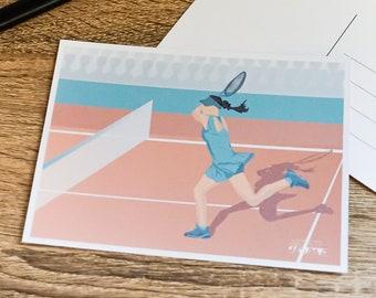 Female tennis art card for woman tennis birthday card or girl tennis christmas card for tennis player or tennis coach party card