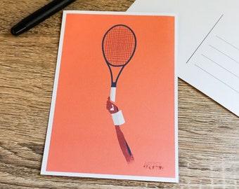 Tennis card for tennis birthday card or tennis christmas card for tennis player or tennis coach or tennis art greeting card