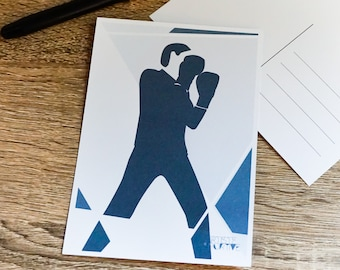 Boxing card in blue for boxing birthday card or boxing christmas card for boxing player or boxing coach boxing art greeting card