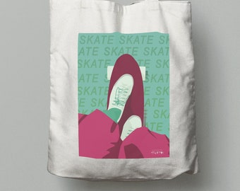Skateboard tote bag gift in red green pink for skateboarder skateboard birthday gift or skateboard christmas gift or skate friend