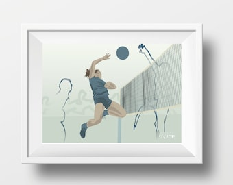 Woman volleyball poster gift illustration for girl volleyball player or volleyball coach for birthday or christmas gift or volley print art
