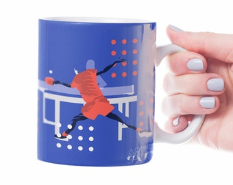 Table tennis mug gift to personalise in blue for a ping pong player or table tennis coach or table tennis Christmas or birthday gift