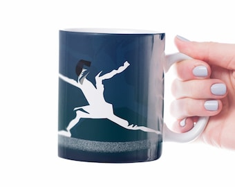 Fencing mug gift to personalise for a fencer or fencing coach for a fencing birthday gift or fencing christmas gift in blue
