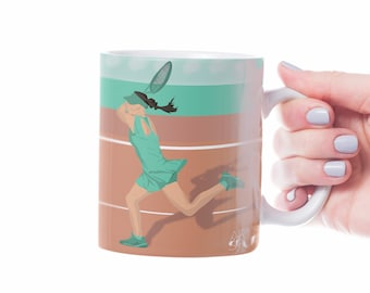 Woman tennis mug gift to personalise for girl tennis or female tennis player or tennis coach or tennis Christmas gift tennis birthday gift