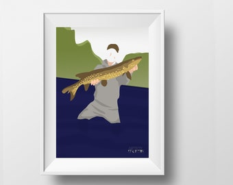 Fishing poster gift illustration for fisherman player or fish fan or fishing birthday gift or fishing christmas gift or fishing print art