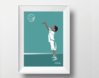 Boy basketball poster gift illustration print art for boy or teen basketball player or coach basketball Christmas gift or NBA birthday gift