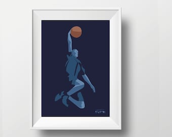 Basketball poster gift illustration for a man or teen basketball player or coach or basketball Christmas gift or NBA birthday gift print art