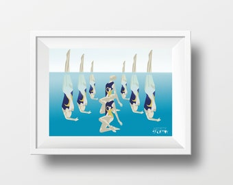 Synchronised swimming poster gift illustration for synchronised swimmer birthday or christmas gift or swimming coach or swimming print art