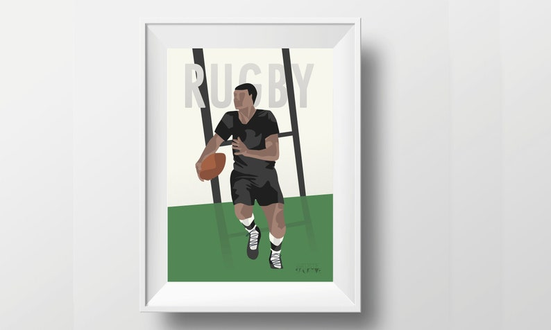 Vintage rugby poster gift illustration for rugby player or image 0