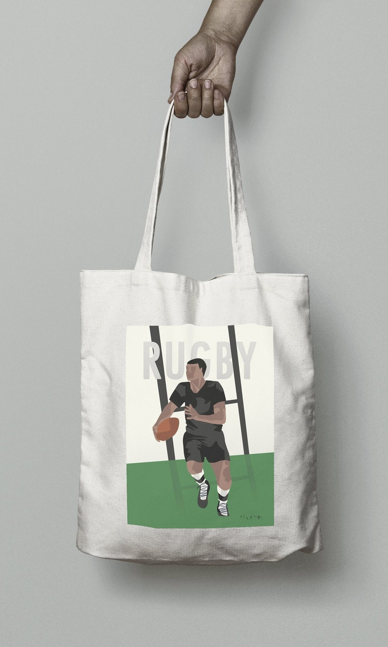 Vintage rugby tote bag gift for rugby player or rugby coach image 0