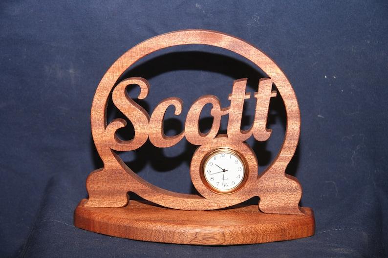 Personalized Scrollsaw Clock Desk Clock scrollsaw clock image 0
