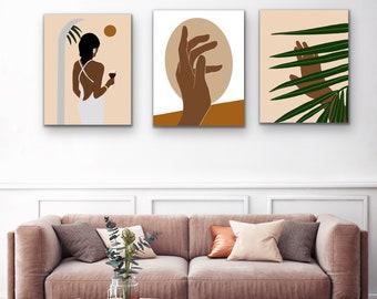 Black Girl Set of 3, Boho Woman Art, African Wall Art, African American Girl, Girls Dorm Room Poster, Female Empowerment Print, Black Art