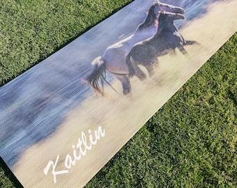 Custom Printed Yoga Mat | Wild Horses | Great Yoga Gift | Pilates | Exercise | High Quality