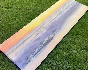 Custom Printed Sunset Beach Yoga Mat | San Diego | LaJolla | Sunset | Great Gift | Corporate Gifts | Yoga Retreat