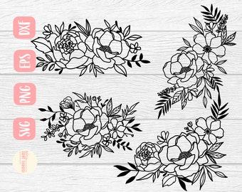 Flower bundle svg, Flower spray svg, Floral svg, Sign svg, Line drawing svg, bundle svg, Flower svg, SVG,PNG, EPS, Dxf, Download, Cricut