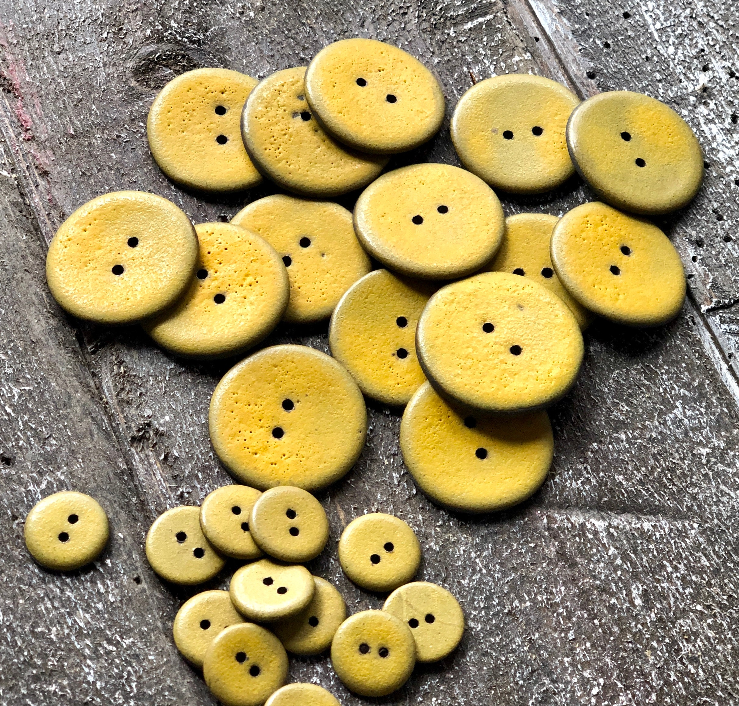 Ceramic Buttons Handmade  ~Two Hole Buttons ~ Bright Yellow Buttons ~ Yellow Buttons ~ Ceramic Buttons ~ Bright Yellow Button ~ Buttons~4078