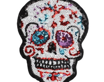 Skull cross bone black embroidered patch lace applique motif emo gothic costume