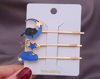 sold in pairs VIntage Style Bright Silver Tone Bobby Pin with Steampunk Kitty Gems