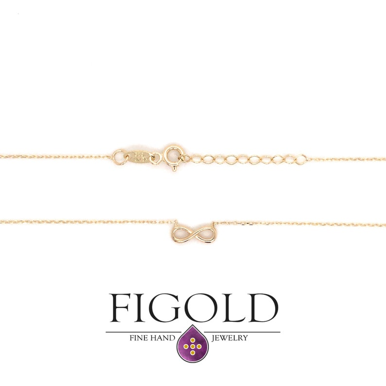 Gift For Mom Minimalist Gold Charm Pendant Tiny Gold Infinity Necklace Dainty 14k Solid Gold Infinity Necklace