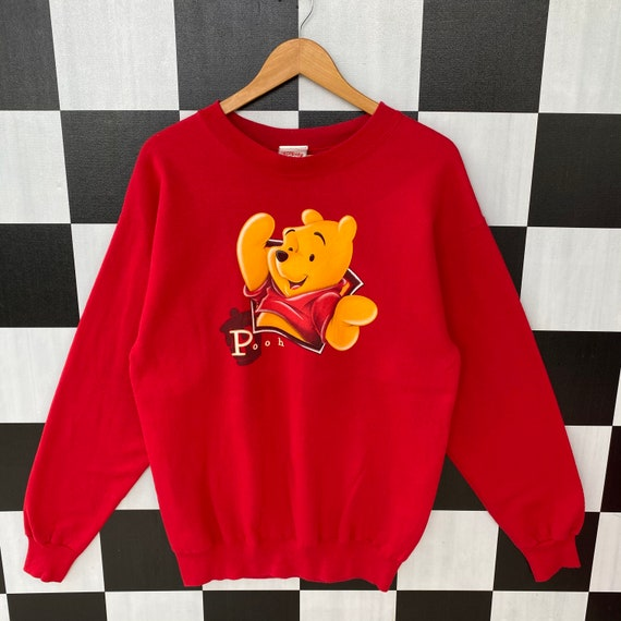 Pooh Crewneck Sweatshirt Big Print Spell Out Logo Pullover  Cartoon Fashion  Walt Disney  Small Size  Cartoon Character