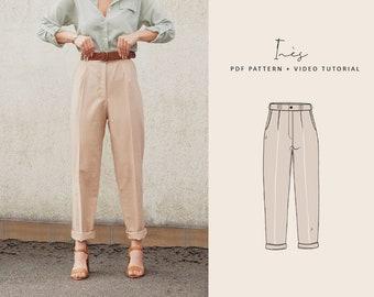 Inès High Waisted Trousers Digital Pattern // UK 6-16, US 2-12 //  PDF Sewing Patterns