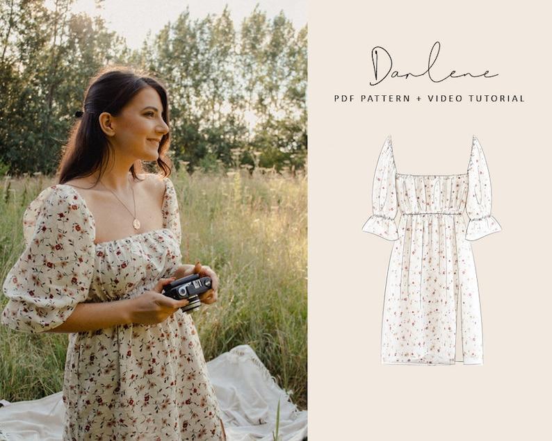Darlene Square Neck Puff Sleeves Dress Digital Pattern // UK image 0