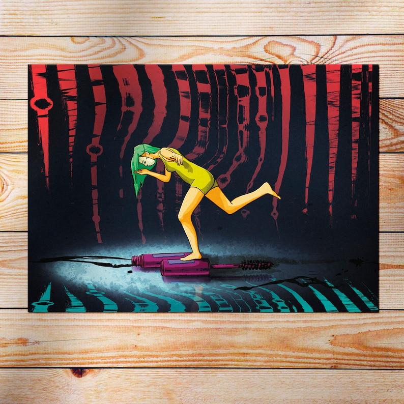 A3 print Mask Balancing woman. Illustration to decorate Decorative sheet