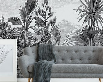 Vintage Tropical Etching The Tropics Wallpaper Mural - Removable Self-adhesive Wallpaper