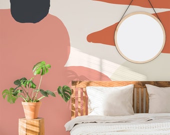Peach, Orange and Navy Abstract Shape Tia Wallpaper Mural - Removable Self-adhesive Wallpaper
