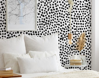Black and White Polka Dot Dalmatian Wallpaper Mural - Removable Self-adhesive Wallpaper