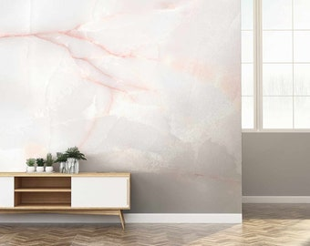 Pink Marble Effect Chinte Wallpaper Mural - Removable Self-adhesive Wallpaper