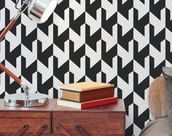 Monochrome Houndstooth Chelsea Wallpaper Mural - Removable Self-adhesive Wallpaper