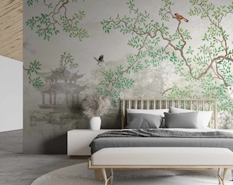 Trees & Birds on a Lake Derous Wallpaper Mural - Removable Self-adhesive Wallpaper
