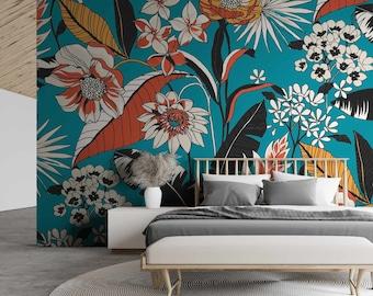 Bright Blue/Orange Floral Ceptess Wallpaper Mural - Removable Self-adhesive Wallpaper