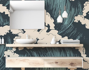Blue and Turquoise Nautical Wave Illustration Felix Wave Wallpaper Mural - Removable Self-adhesive Wallpaper