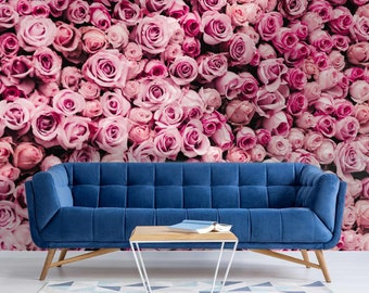 Pink Rose Flower Wall Vitions Wallpaper Mural - Removable Self-adhesive Wallpaper