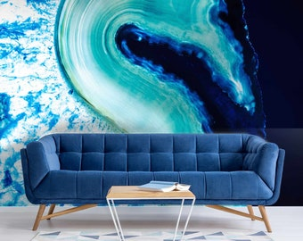 Blue Crystal Gemstone Rock Caterfect Wallpaper Mural - Removable Self-adhesive Wallpaper
