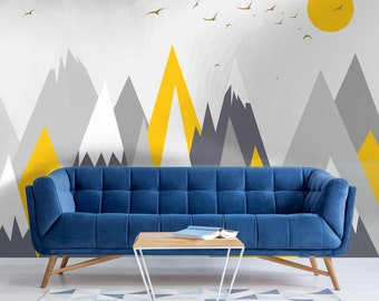 Grey & Yellow Mountains Graphic Cative Wallpaper Mural - Removable Self-adhesive Wallpaper